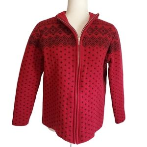 LANDS END WOOL FAIR ISLE NORDIC KNIT ZIP-UP FRONT SWEATER ~ Medium